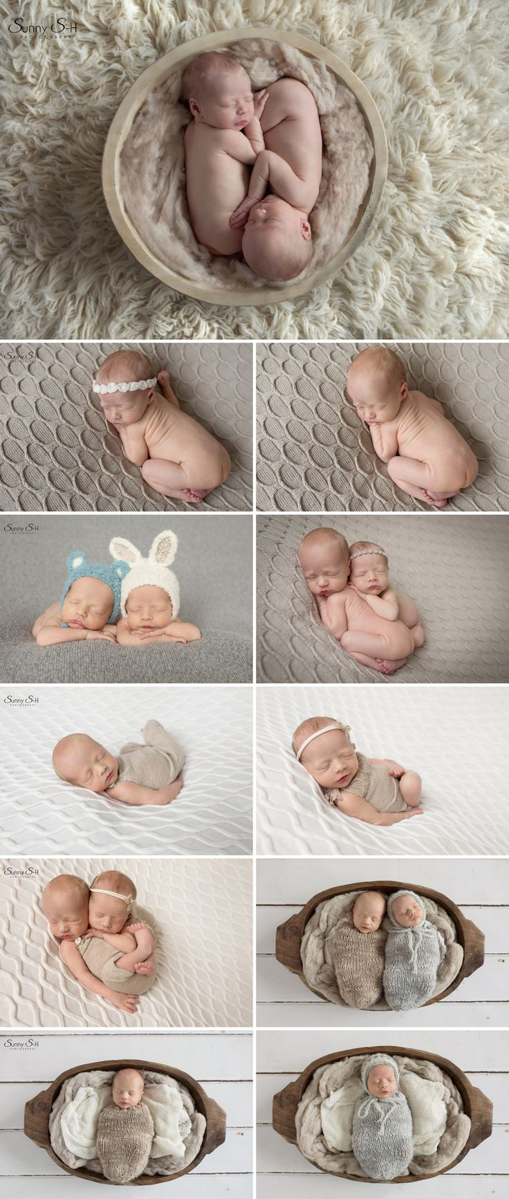10 day old Fraternal Twins Hudson and Aurora.  Love this neural themed studio newborn photo shoot with tons of cute posing.  Sunny S-H Photography Winnipeg