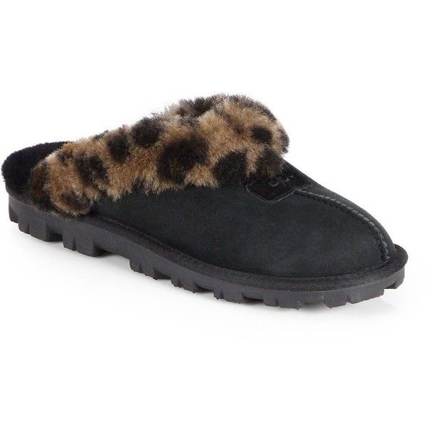 UGG Australia Coquette Leopard-Print Sheepskin Slippers ($84) ❤ liked on Polyvore featuring shoes, slippers and apparel & accessories