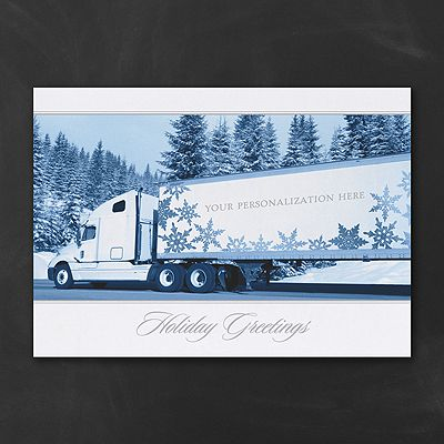 27 best business christmas cards images on pinterest business personalize the large semi featured on this white folding greeting card with your company name rolling hills of evergreens create a wintry background reheart Gallery