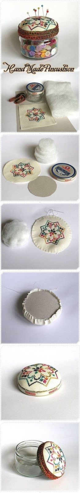 The Best Crafts from Pinterest: Hand Made Pincushion - I would store pins, not buttons in the jar.