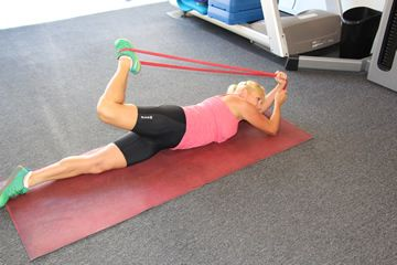 Resistance Band Side-Lying Hip Flexor Stretch Wrap a resistance band over your left shoe. Grab the other end of the band with both hands. Roll onto your side; the band should be behind your head. Keep your left knee flexed and keep your right leg on the floor. Hold this position for 30 seconds to 2 minutes. Do 1 to 2 sets on each side.