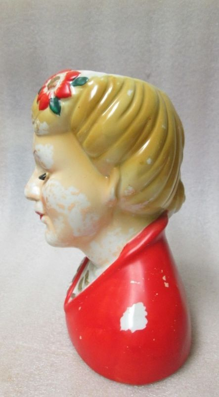 China Head Vase Lady in Red AS FOUND Needs TLC RePaint NORITAKE NIPPON stamped