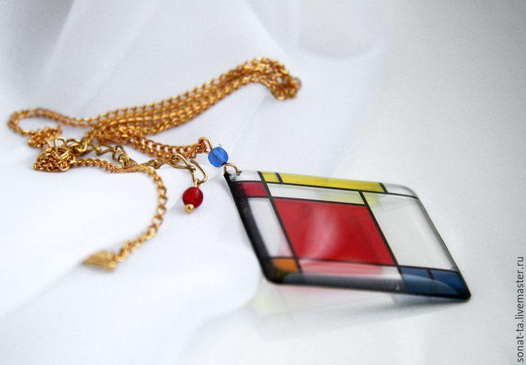 """Купить """"В стиле Мондриана"""" Прозрачный кулон - разноцветный, мондриан, искусство, прозрачные украшения"""