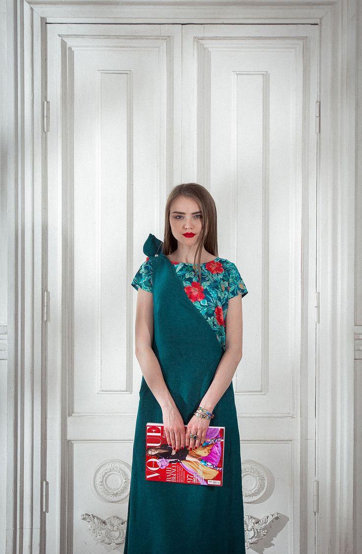 Купить Шелковый сарафан на одно плечо - тёмно-синий, платье, шелковое платье, дикий шелк