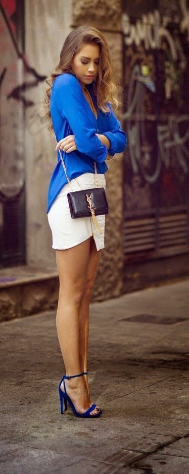 Latest fashion trends: Gorgeous casual look blue top white skirt