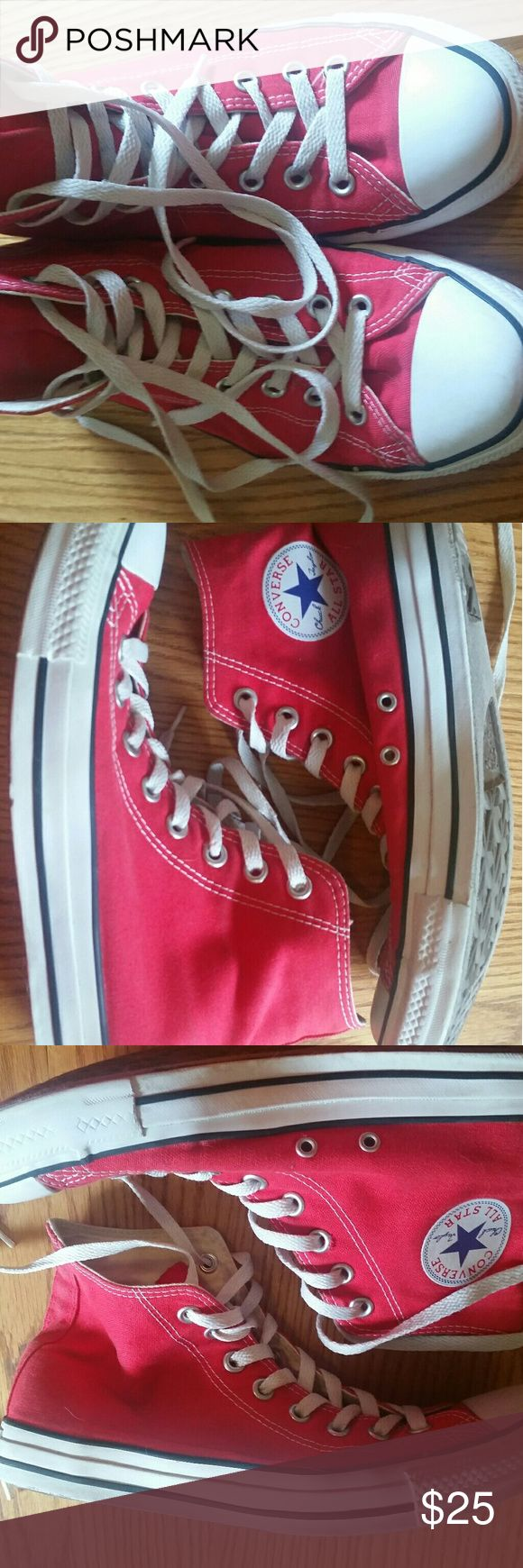 Red converse Hightops In used but great condition. Clean material, laces are not bad and no major scuffs. Men's size 9 women's size 11.  2 different pairs listed in my closet same shoe and size. Converse Shoes Sneakers