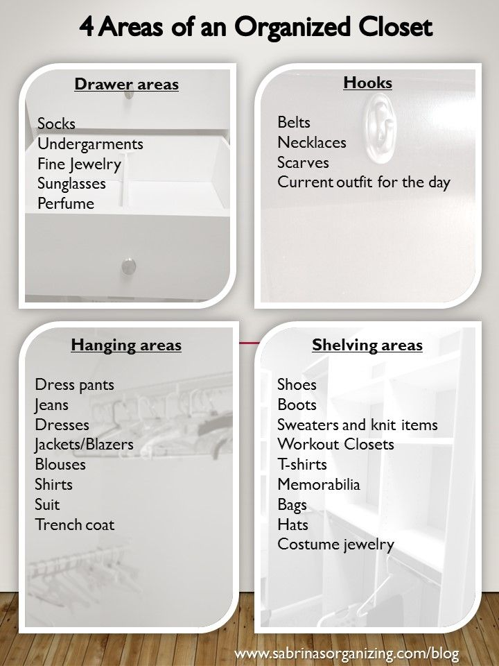 4 areas of an organized closet tips - a complete list of how to organize a closet by a professional organizer. #DIY #home #organization