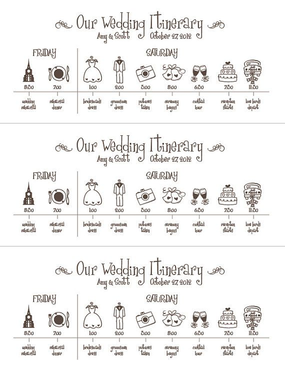 Printable Wedding Timeline  Schedule Itinerary  by pompdesigns, $29.99