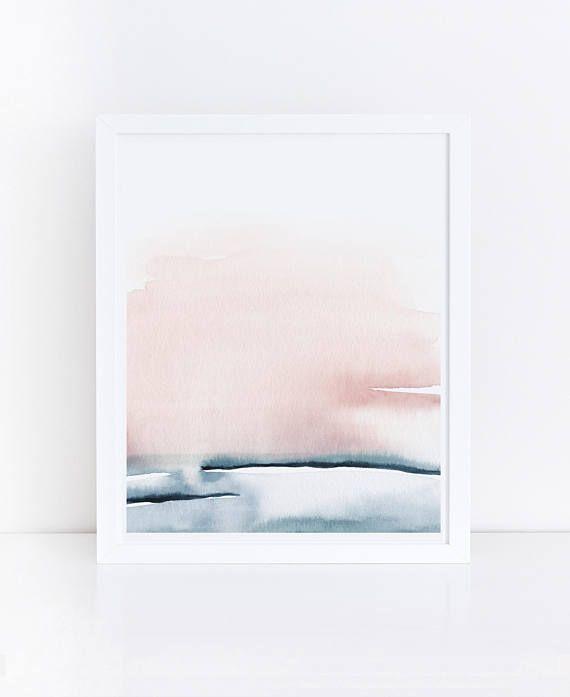 Blush Pink Print Printable Bedroom Art Watercolor Printable