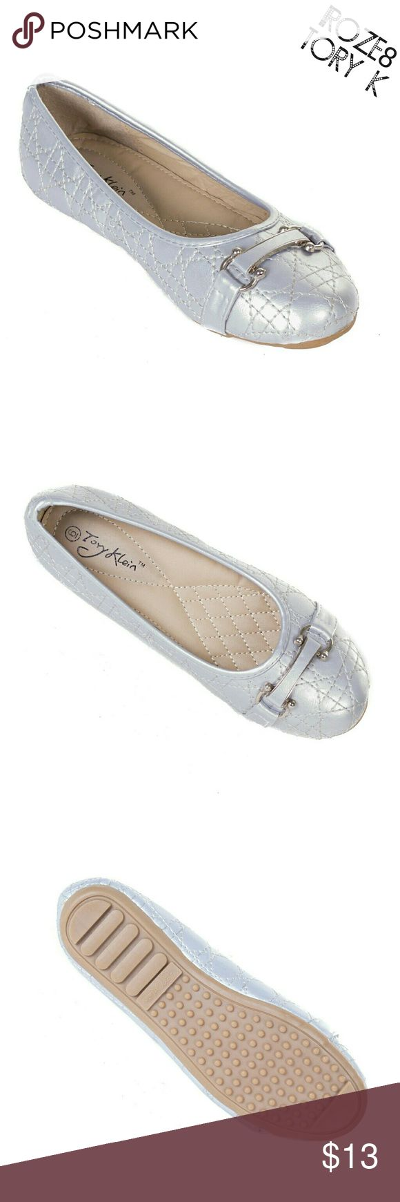 "Women Stitched Buckle Flats, b-1639, Silver Brand new Tory Klein woman ballerina flats in lovely silver with a horseshoe buckle (for luck!) and intricate stitched design. Soft cushioned sole, very comfortable. Bubbled bottom sole for extra traction. A true staple in ladies shoes fashion! Measurements: size 7 measures 9.5"", sz 7.5 - 9 3/4"", sz 8 - 10"", sz 8.5 - 10 1/4"", sz 9 - 10.5"", all half sizes are in 1/4"" increments of each other. Tory K  Shoes Flats & Loafers"
