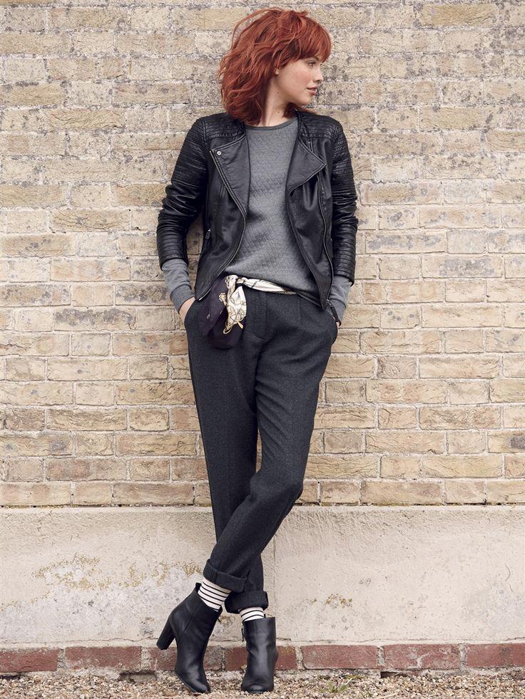 17 meilleures id es propos de pantalon carotte femme sur pinterest converse grise femme - Tenue cuir femme ...