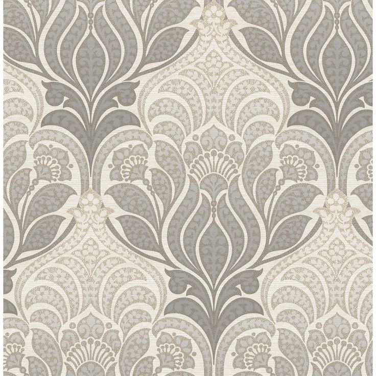 Kenneth James Azmaara Twill Damask Wallpaper Charcoal / Light Gray - 2671-22428