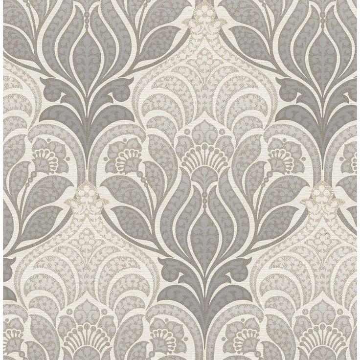 Kenneth James Azmaara Twill Damask Wallpaper Charcoal / Light Gray - 2671-22428