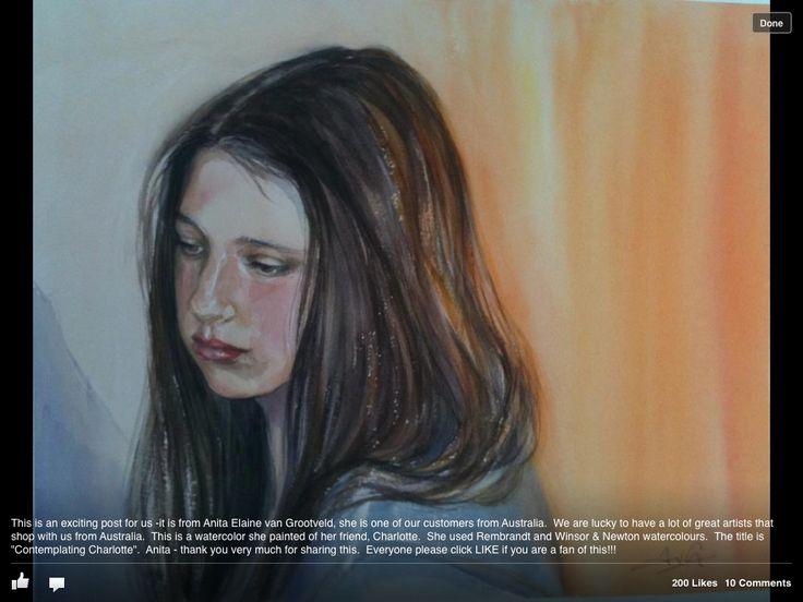 Contemplating Charlotte, watercolour portrait, Anita van Grootveld