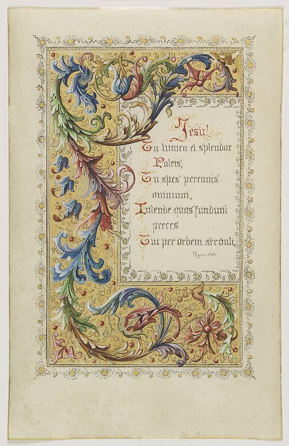 Title : Neo-Gothic illuminated manuscript on vellum.  Published in Belgium, c. 1890.  Size :6.1 x 3.9 inches./15.5 x 10.0 cm.  Colouring : In original colours.