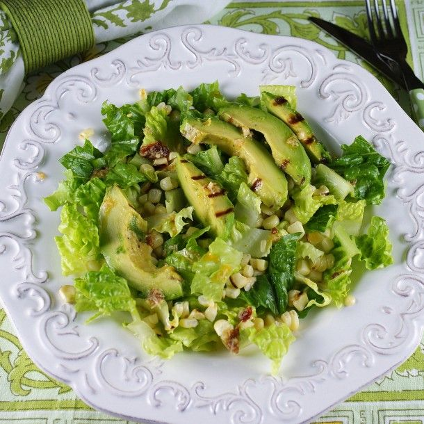 Smoky Corn & Grilled Avocado Salad with Chipotle-Caesar Dressing from @Patty Price / Patty's Food