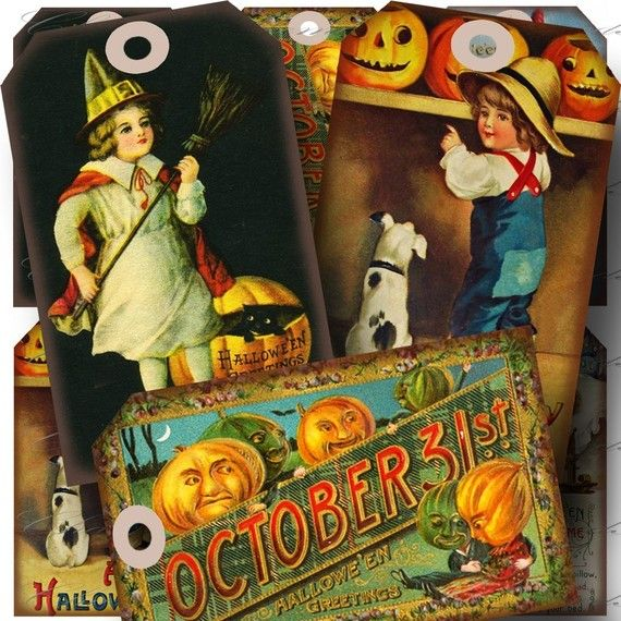 Aged Vintage Halloween 2 Hang Tags Digital by CharmedMemoryCollage, $3.50