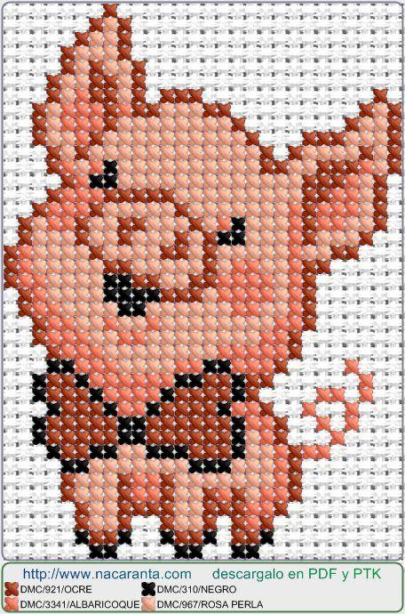 HAPPY PIG EN PUNTO DE CRUZ, Cross stitch patterns