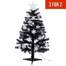 HOME 4ft Christmas Tree – Black, White & Silver