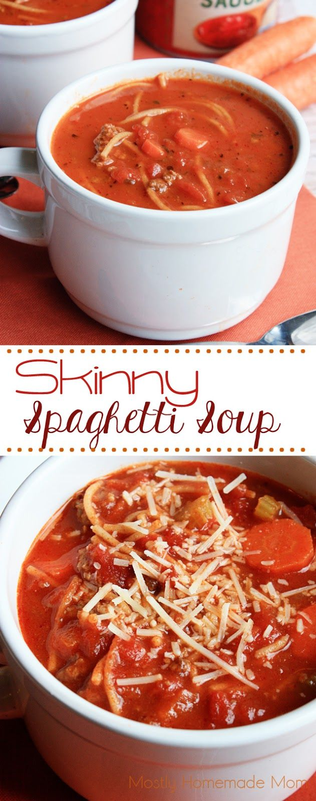 Skinny Spaghetti Soup - This nutritious soup is packed with tomatoes, carrots, celery, and whole-wheat spaghetti. The perfect alternative to your typical spaghetti dinner night!