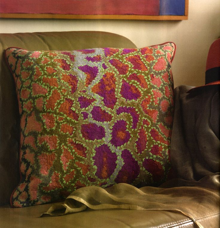 "PHYTHON 18"" needpoint cushion kit design.   looks fun to stitch"