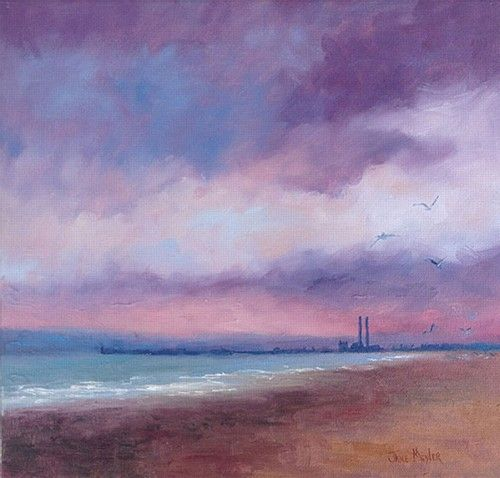 "Jane Meyler, ""Red Sky at Night, Dublin Bay"" #art #redsky #night #shore #Dublin #Bay #water #waves #clouds #sunset #painting #DukeStreetGallery"