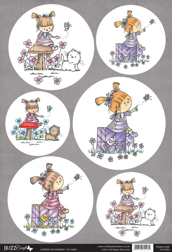 Buzzcraft Cherish the Moment die cut toppers - Fly Away