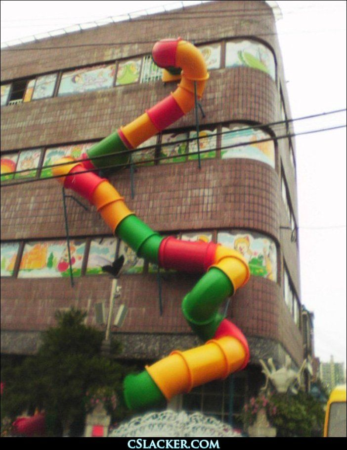 Crazy Cool Inventions | huge crazy slide out the side of a building.