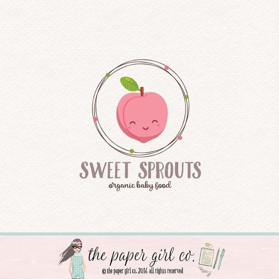 peach logo design plum logo design fruit logo by ThePaperGirlCo