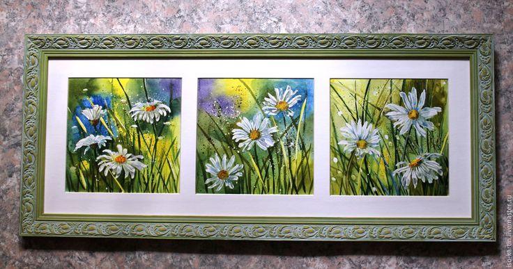 """Купить Триптих """"Лето! Ромашки"""" акварель - зеленый, ромашки, акварель, акварельная картина, картина в раме"""
