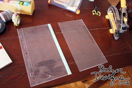 sealing cut page protector w/ washi tape