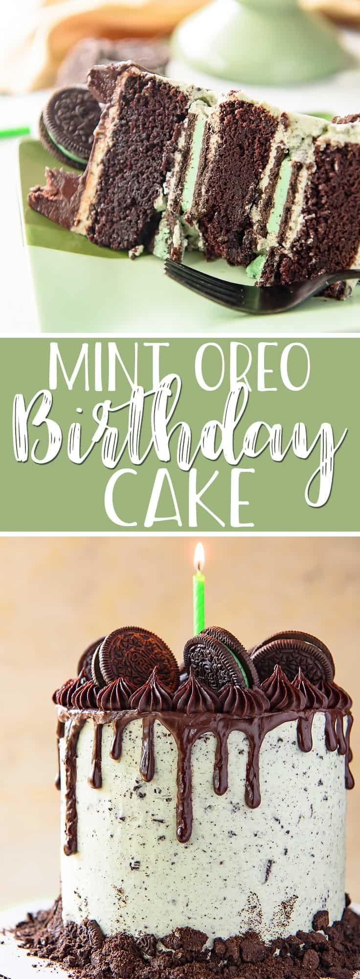 This Mint Oreo Cake makes for one fabulous birthday cake for mint chocolate lovers! Dark chocolate cake and tons of whole Oreos are covered in fluffy mint cookies and cream buttercream, then garnished with chocolate ganache and even more cookies.