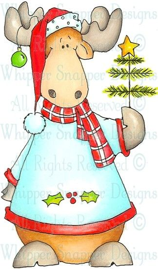 Xmas Tree Moose - Christmas Images - Christmas - Rubber Stamps - Shop