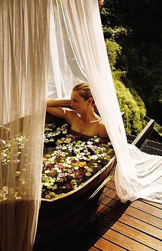 Water warmed by the sun, fresh herbs,  thyme, rosemary, lavender,  flower petals,  Heaven Scent........