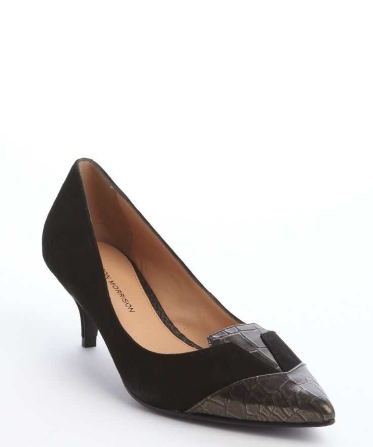 Sigerson Morrison black and pewter suede 'Positive' leather pumps | BLUEFLY up to 70% off designer brands