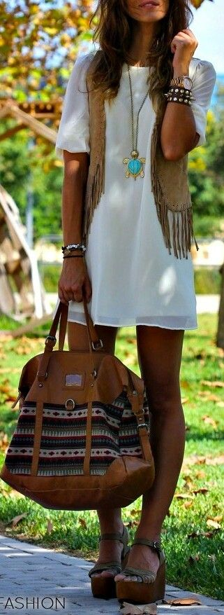 I'd lose the bracelets and the shoes, but big fan of the shirt dress thing and vest. And bag.