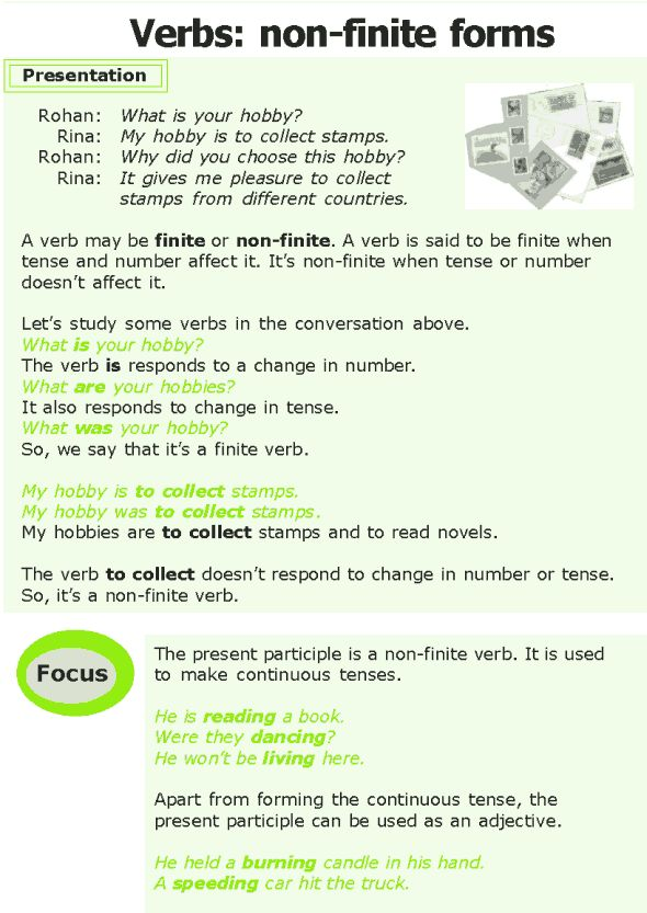 the non finite forms of the verb There are mainly two types of verbs – finite verbs and non-finite verbsnon-finite verbs are not verbs in the strict sense of the term they have certain qualities of verbs but they can't.