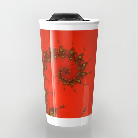 Red fractal. Abstract pattern Travel Mug
