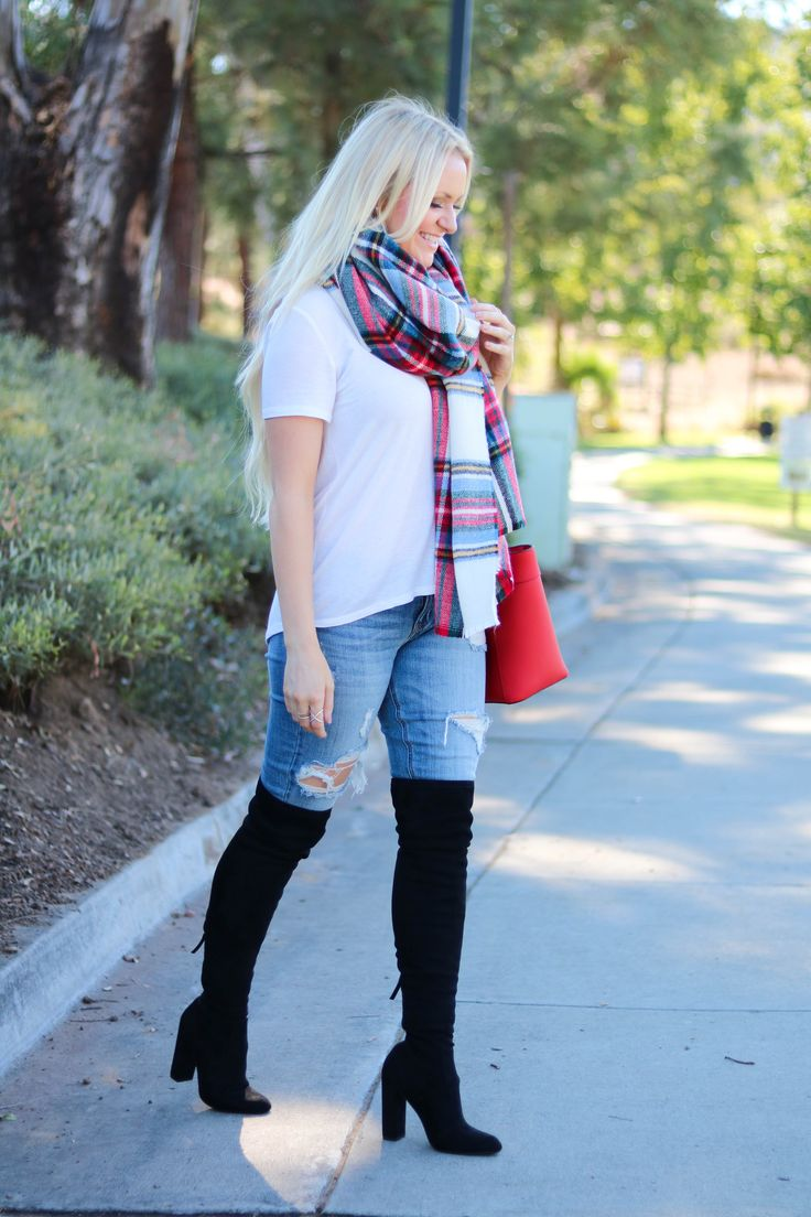 Easy outfit! white tee + blue jeans + black boots + plaid scarf