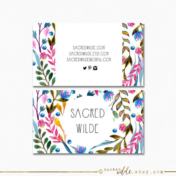 Sacred Wilde offers beautiful double sided business card designs. You will receive high resolution (300dpi) files in the formats JPG and PDF. The files are customized for you and then sent to you via email. (see instructions below!)  >>>--- YOU CAN CUSTOMIZE --->  - ALL of the text. Include your name, links, contact info- anything you want! - Business Card Size. Let me know where you are having the (rectangle) cards printed and I will make sure the file fits their specifications. - Fonts…