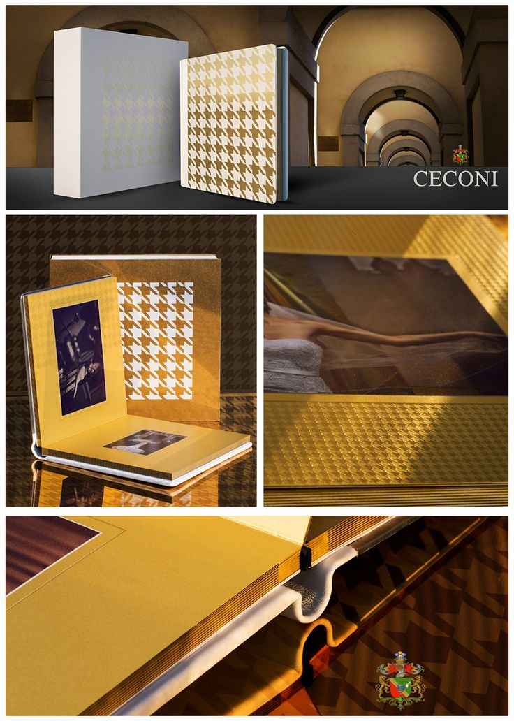 Ceconi | pied de poule | #gold metal cover and #white #leather spine and back | art box |  #graphistudio #ceconi #fashion #weddingbook #wedding #photography #pieddepoule