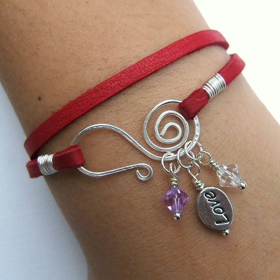Leather wrap charm bracelet - silver Love bead, lilac & clear crystal beads, spiral hammered wire closure  #handmade #jewelry