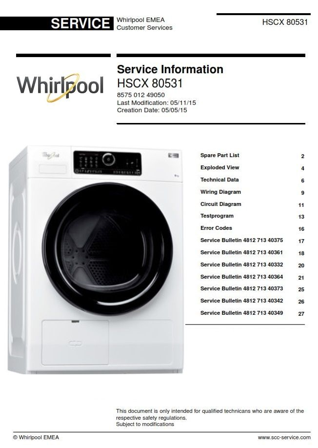 Whirlpool HSCX 80531 Dryer Service Technicians Manual | Viking appliances  refrigerators, Kitchen aid appliances, Smeg appliancesPinterest