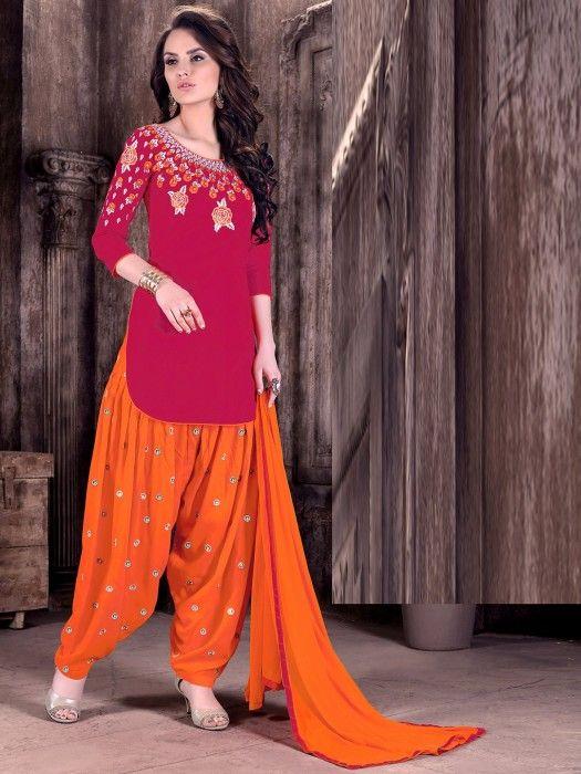 Red Orange Classy Punjabi Dress Material