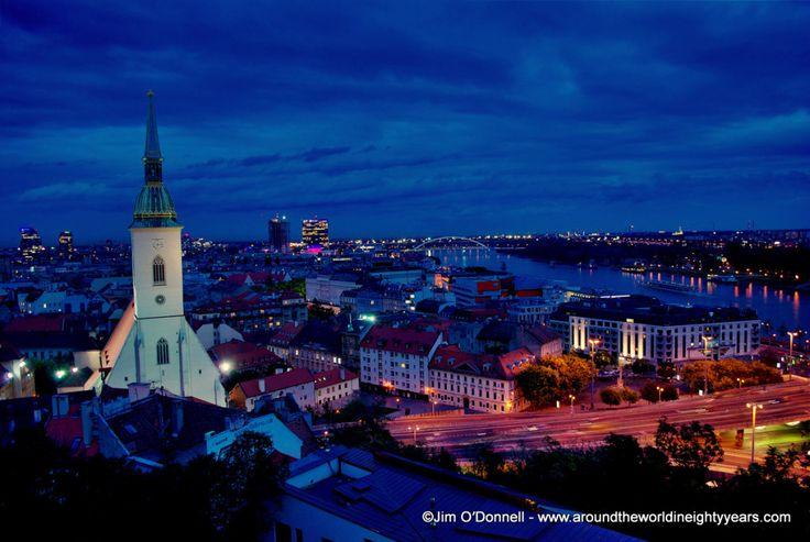 Bratislava, Slovakia at night.  See more at http://www.aroundtheworldineightyyears.com/bratislava-by-night/