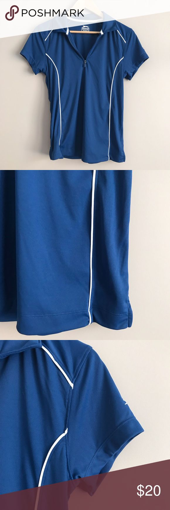Slazenger Women's Gold Tee - Dark Blue Perfect condition, will bundle with orange slazenger top for $30 Slazenger Tops