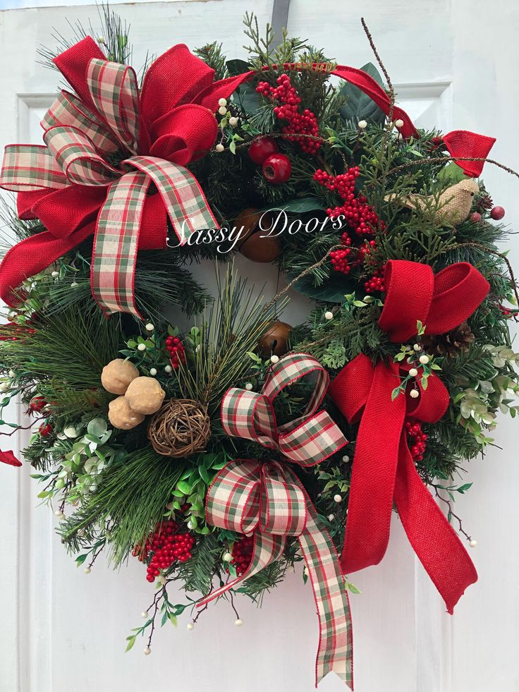 Christmas Wreath, Woodland Christmas Wreath, Rustic Wreath, Traditional Christmas Wreath, Christmas Front Door Wreath, by SassyDoorsWreaths on Etsy https://www.etsy.com/listing/567812501/christmas-wreath-woodland-christmas