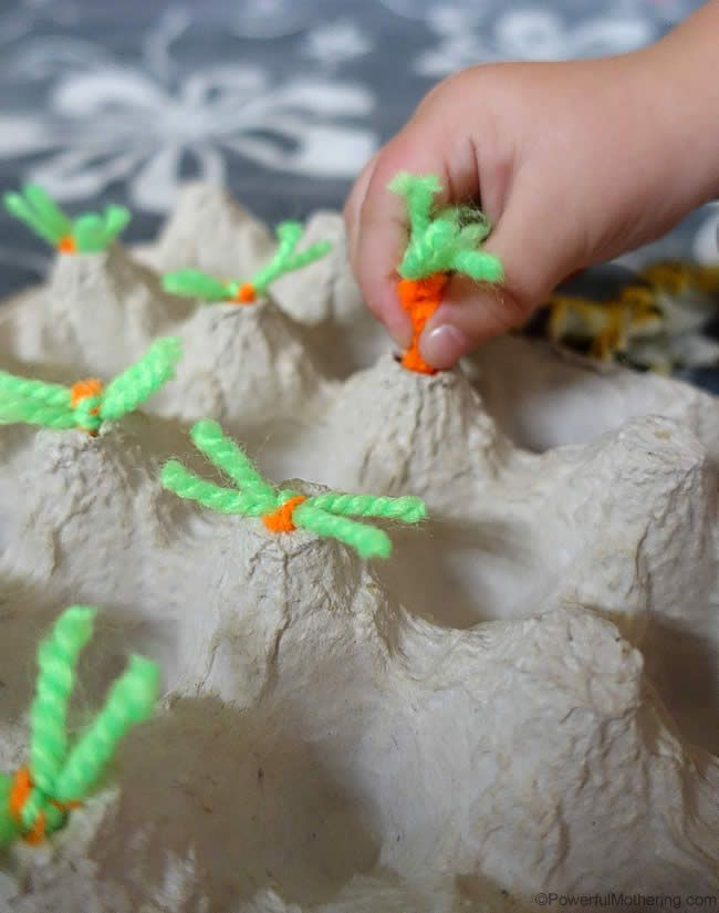 harvesting carrots fine motor activity. this would be cute with tops and bottoms book