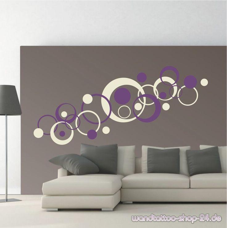 WANDTATTOO Wandaufkleber Wandsticker 2-farbig Retro Dots Kreise Wohnzimmer WT380