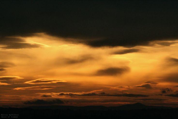 Sunrise seen over the southern Krakow